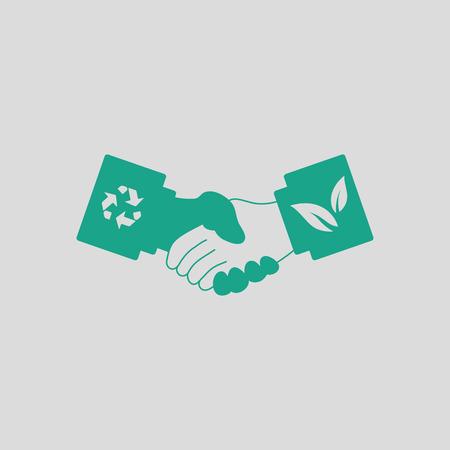 manos estrechadas: icono de apretones de manos ecológica. Fondo gris con verde. Ilustración del vector.