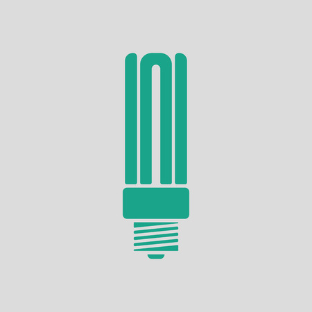 Energy saving light bulb icon. Gray background with green. Vector illustration. Illustration