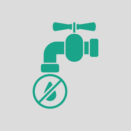 Water faucet with dropping water icon. Gray background with green. Vector illustration.
