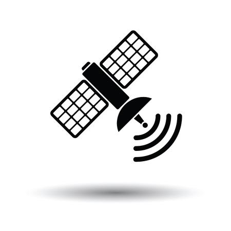 transponder: Satellite icon. White background with shadow design. Vector illustration.