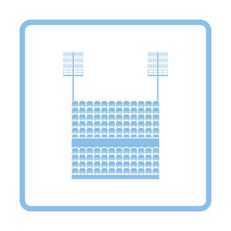 tribune: Stadium tribune with seats and light mast icon. Blue frame design. Vector illustration.