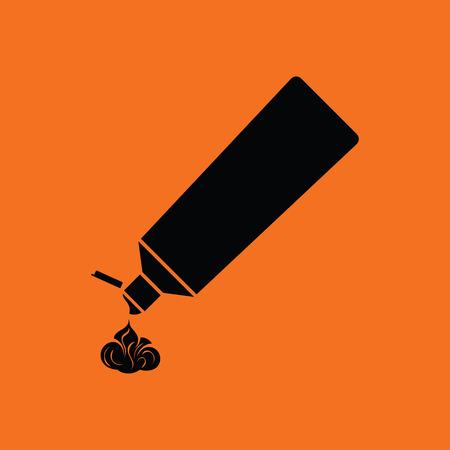 pasta dental: icono de tubo de pasta de dientes. fondo naranja con negro. Ilustración del vector.
