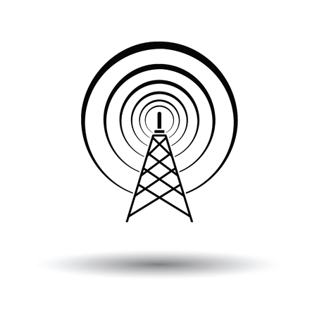 tv tower: Radio antenna icon. White background with shadow design. Vector illustration. Illustration
