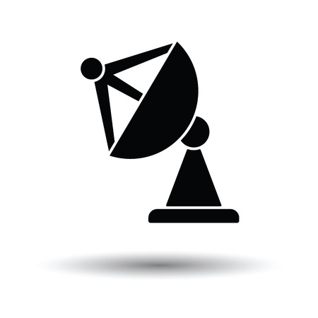 microwave antenna: Satellite antenna icon. White background with shadow design. Vector illustration.