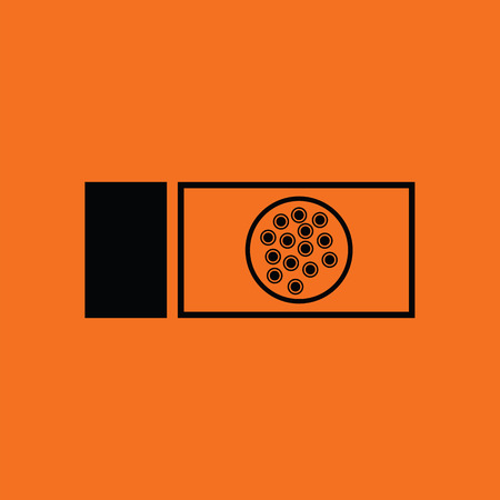 Bacterium glass icon. Orange background with black. Vector illustration. Vectores