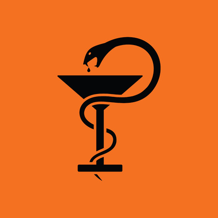 Medicine sign with snake and glass icon. Orange background with black. Vector illustration.