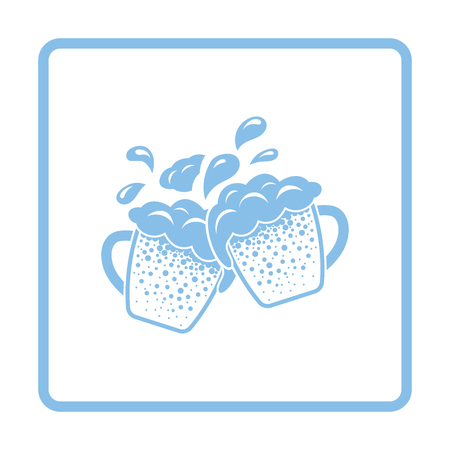 clinking: Two clinking beer mugs with fly off foam icon. Blue frame design. Vector illustration.