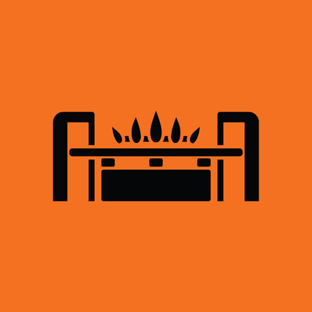 gas burner: Gas burner icon. Orange background with black. Vector illustration.