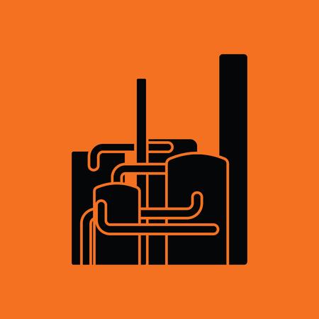 chemical plant: Chemical plant icon. Orange background with black. Vector illustration. Illustration