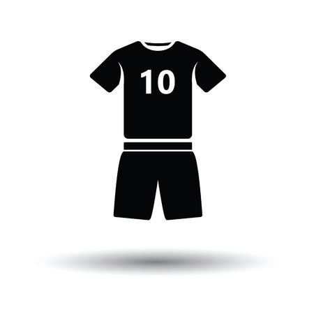 uniform: Soccer uniform icon. White background with shadow design. Vector illustration.