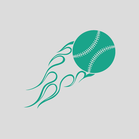 Baseball fire ball icon. Gray background with green. Vector illustration.