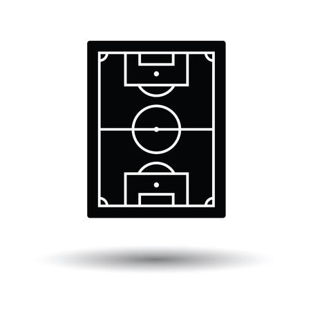 terrain foot: Icône de champ vue de soccer aérienne. Fond blanc avec la conception de l'ombre. Vector illustration.