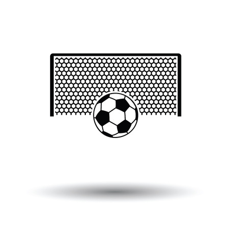 ball point: Soccer gate with ball on penalty point  icon. White background with shadow design. Vector illustration. Illustration