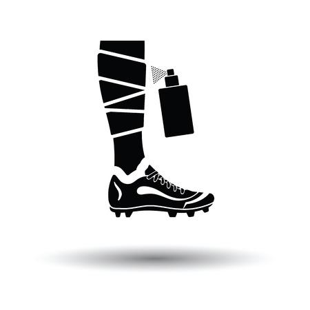 Soccer bandaged leg with aerosol anesthetic icon. White background with shadow design. Vector illustration.