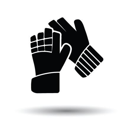 Fútbol icono de guantes de portero. Fondo blanco con el diseño de la sombra. Ilustración del vector.