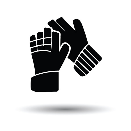 goalkeeper: Soccer goalkeeper gloves icon. White background with shadow design. Vector illustration.