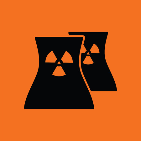 contaminate: Nuclear station icon. Orange background with black. Vector illustration.
