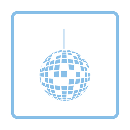 blue party: Party disco sphere icon. Blue frame design. Vector illustration.