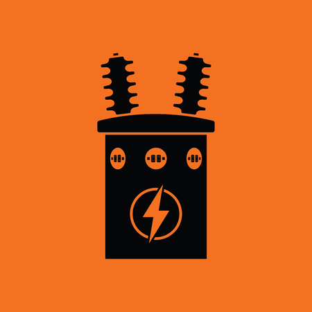 electricity substation: Electric transformer icon. Orange background with black. Vector illustration. Illustration