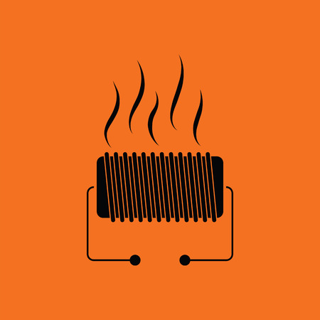 electric fixture: Electrical heater icon. Orange background with black. Vector illustration. Illustration