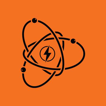 Atom energy icon. Orange background with black. Vector illustration.