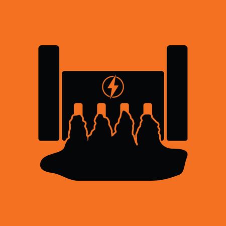 power station: Hydro power station icon. Orange background with black. Vector illustration. Illustration