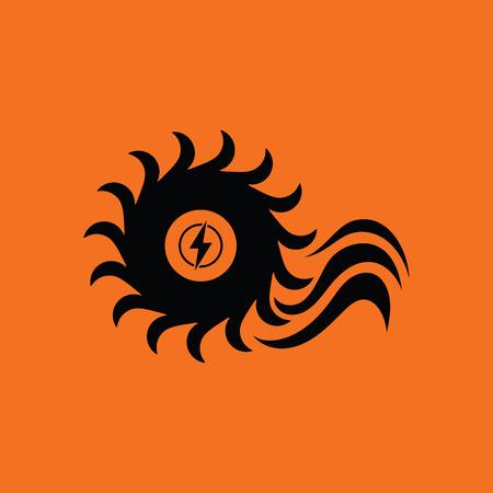 barrage: Water turbine icon. Orange background with black. Vector illustration. Illustration
