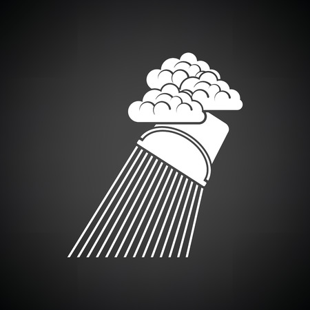 raincloud: Rainfall like from bucket icon. Black background with white. Vector illustration. Illustration