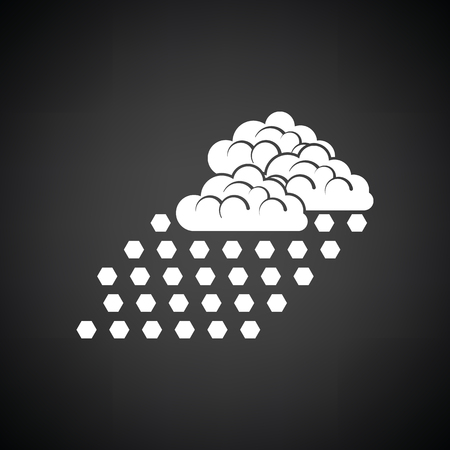 hailstone: Hail icon. Black background with white. Vector illustration.
