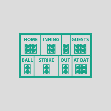 inning: Baseball scoreboard icon. Gray background with green. Vector illustration.