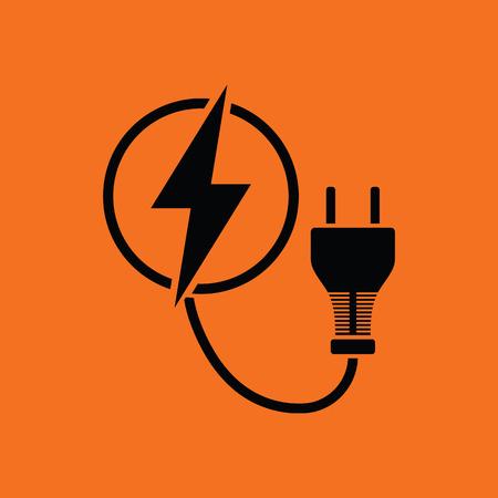 Electric plug icon. Orange background with black. Vector illustration. Illustration