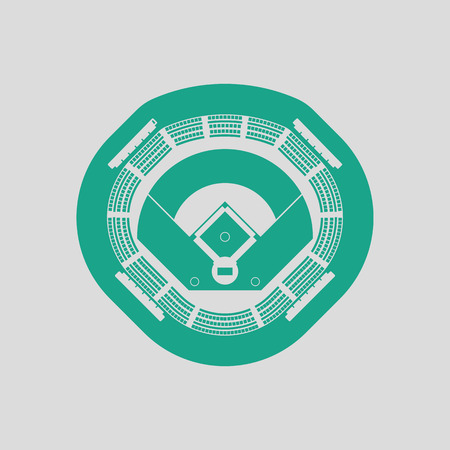 infield: Baseball stadium icon. Gray background with green. Vector illustration.