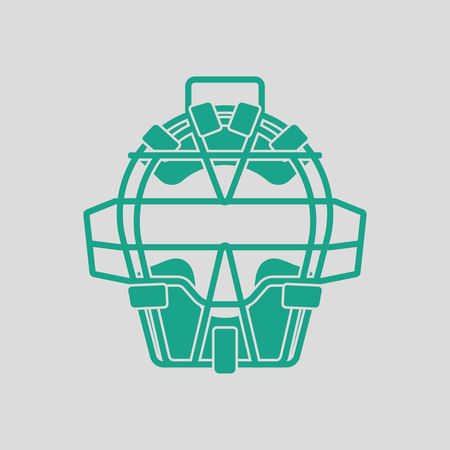 green face: Baseball face protector icon. Gray background with green. Vector illustration.