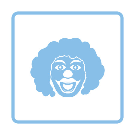 blue party: Party clown face icon. Blue frame design. Vector illustration.