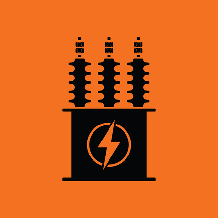 Electric transformer icon. Orange background with black. Vector illustration. Illustration