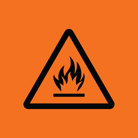 Flammable icon. Orange background with black. Vector illustration. Illustration