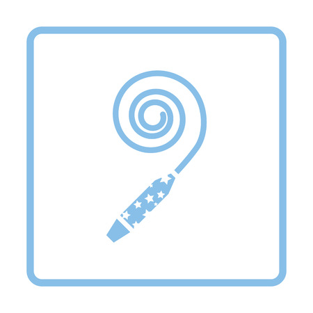 blue party: Party whistle icon. Blue frame design. Vector illustration. Illustration