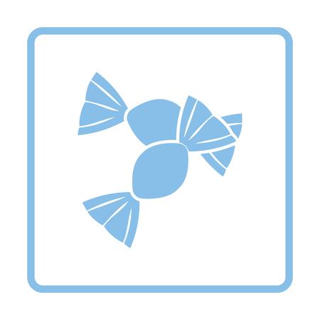 Candy icon. Blue frame design. Vector illustration.