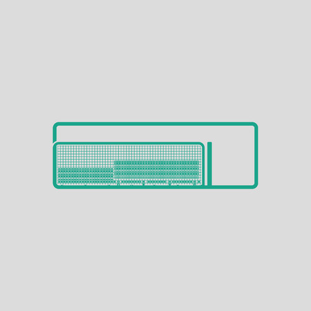 dugout: Baseball reserve bench icon. Gray background with green. Vector illustration.