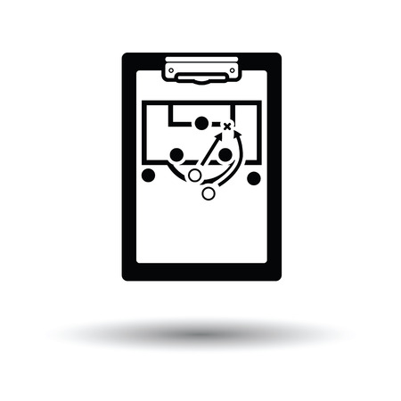 soccer coach: Soccer coach tablet with scheme of game icon. White background with shadow design. Vector illustration. Illustration