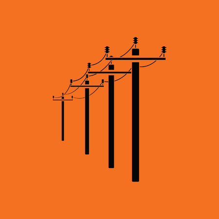 electrical tower: High voltage line icon. Orange background with black. Vector illustration. Illustration