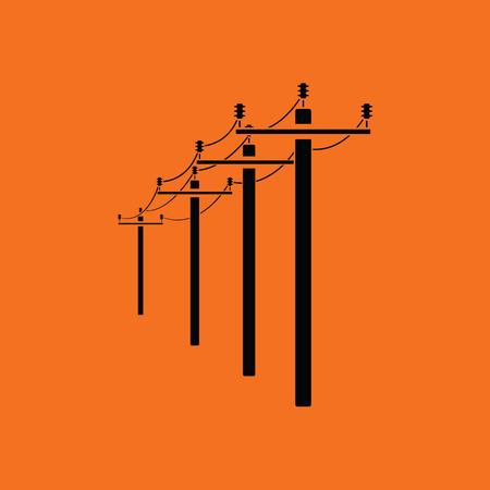 High voltage line icon. Orange background with black. Vector illustration. Illustration