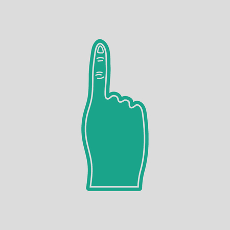 foam finger: Fans foam finger icon. Gray background with green. Vector illustration. Illustration