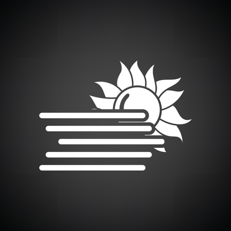 fog white: Fog icon. Black background with white. Vector illustration.