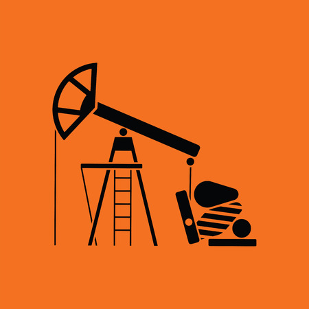 Oil pump icon. Orange background with black. Vector illustration.