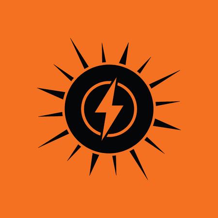 sunbeam background: Solar energy icon. Orange background with black. Vector illustration.