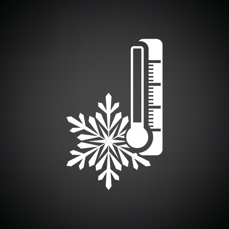 coldness: Winter cold icon. Black background with white. Vector illustration.