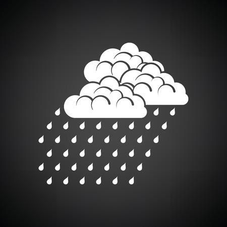 Rainfall icon. Black background with white. Vector illustration. Illustration