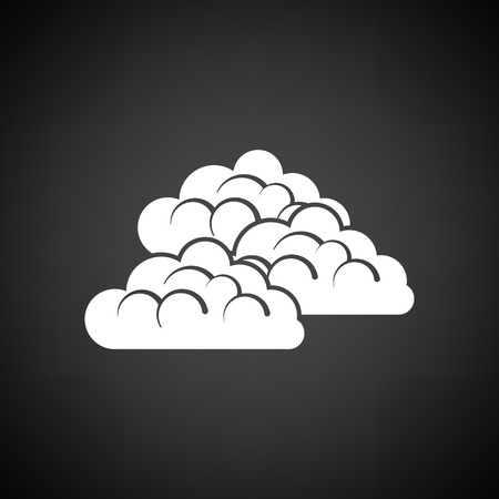 overcast: Cloudy icon. Black background with white. Vector illustration.