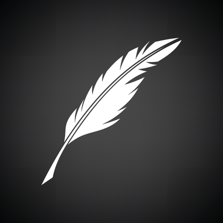 poet: Writing feather icon. Black background with white. Vector illustration. Illustration